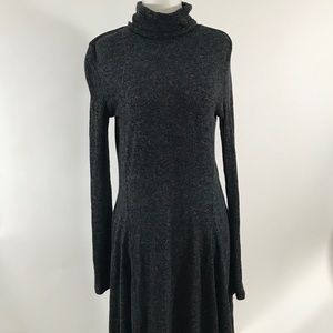 Anthropologie Grey Fit Flare Sweater Dress Sz M